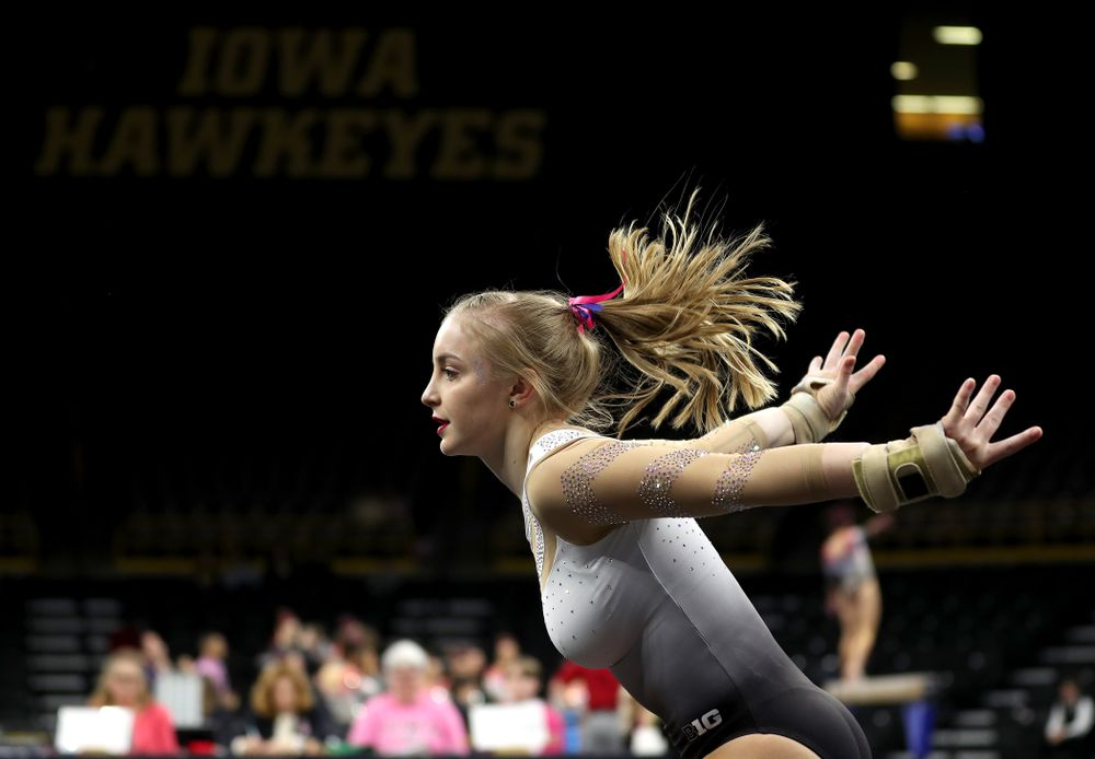 IowaÕs Lauren Guerin competes on the floor against Ball State and Air Force Saturday, January 11, 2020 at Carver-Hawkeye Arena. (Brian Ray/hawkeyesports.com)