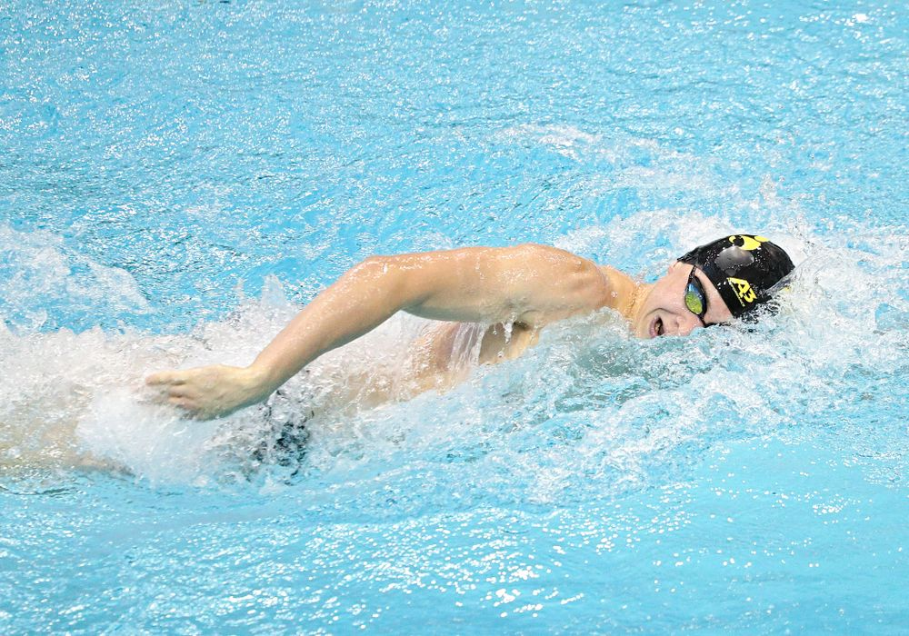 Iowa's Aleksey Tarasenko swims the men's 200-yard freestyle event during their meet against Michigan State and Northern Iowa at the Campus Recreation and Wellness Center in Iowa City on Friday, Oct 4, 2019. (Stephen Mally/hawkeyesports.com)