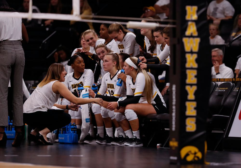 Iowa Hawkeyes assistant coach Bre Payton against the Michigan State Spartans Friday, September 21, 2018 at Carver-Hawkeye Arena. (Brian Ray/hawkeyesports.com)
