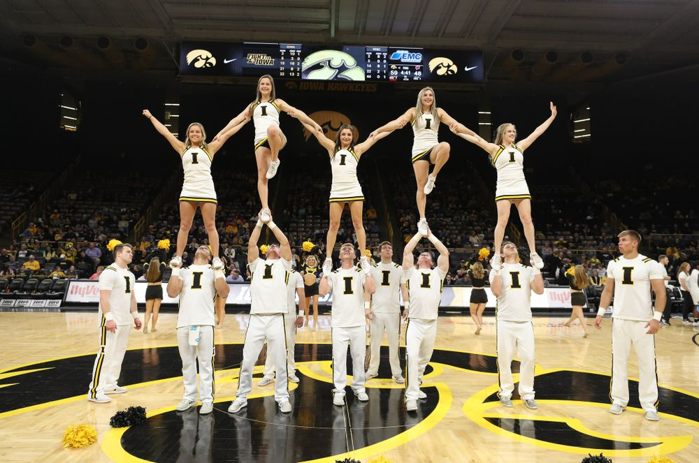 The Iowa Cheerleaders against the Wisconsin Badgers Monday, January 7, 2019 at Carver-Hawkeye Arena.  (Brian Ray/hawkeyesports.com)