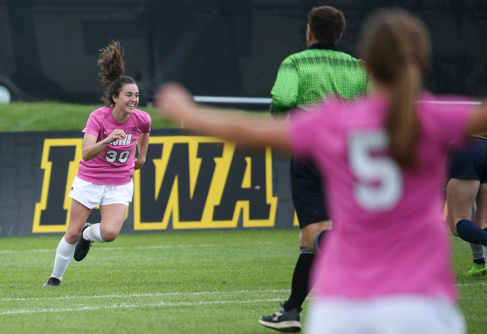 Iowa Hawkeyes forward Devin Burns (30) reacts after scoring a goal during a game against Michigan at the Iowa Soccer Complex on October 14, 2018. (Tork Mason/hawkeyesports.com)