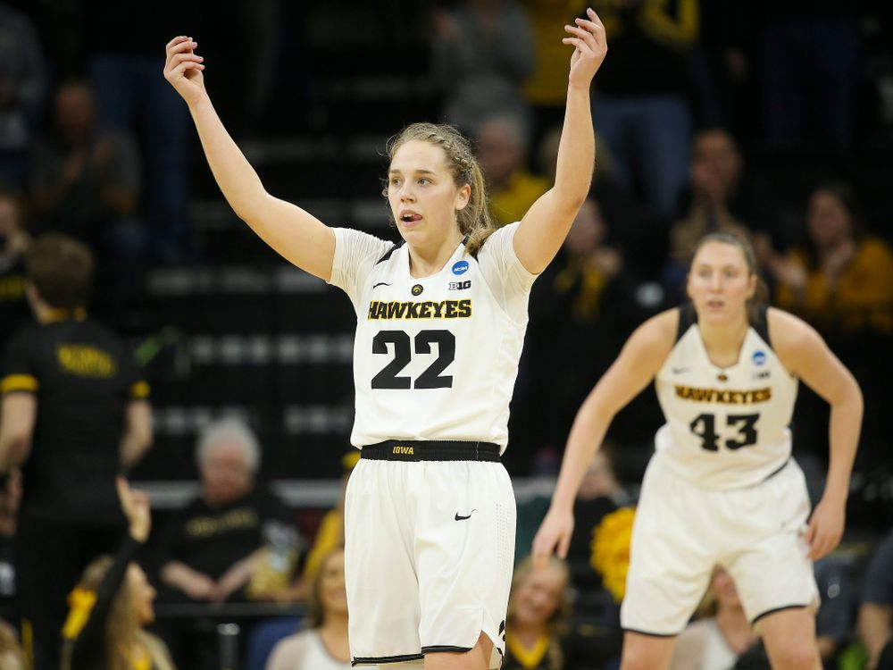 Iowa Hawkeyes guard Kathleen Doyle (22) pumps up the crowd during the second quarter of their second round game in the 2019 NCAA Women's Basketball Tournament at Carver Hawkeye Arena in Iowa City on Sunday, Mar. 24, 2019. (Stephen Mally for hawkeyesports.com)