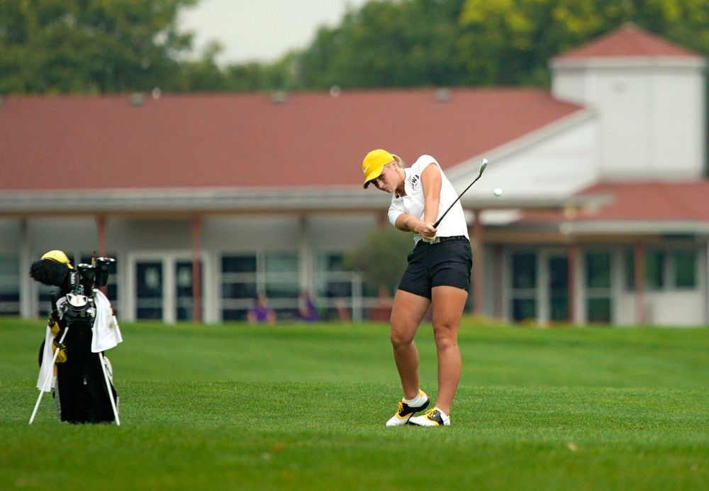 Iowa's Lilly Gentzkow hits from the fairway during their dual against Northern Iowa at Pheasant Ridge Golf Course in Cedar Falls on Monday, Sep 2, 2019. (Stephen Mally/hawkeyesports.com)
