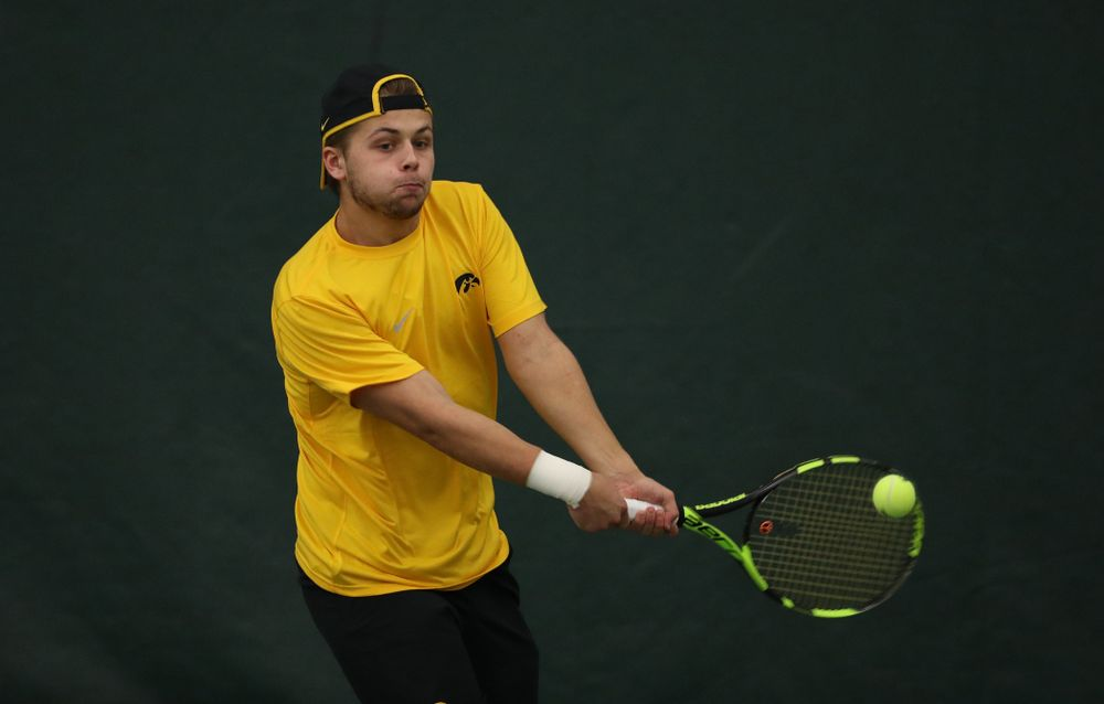 Will Davies against the Butler Bulldogs Sunday, January 27, 2019 at the Hawkeye Tennis and Recreation Complex. (Brian Ray/hawkeyesports.com)