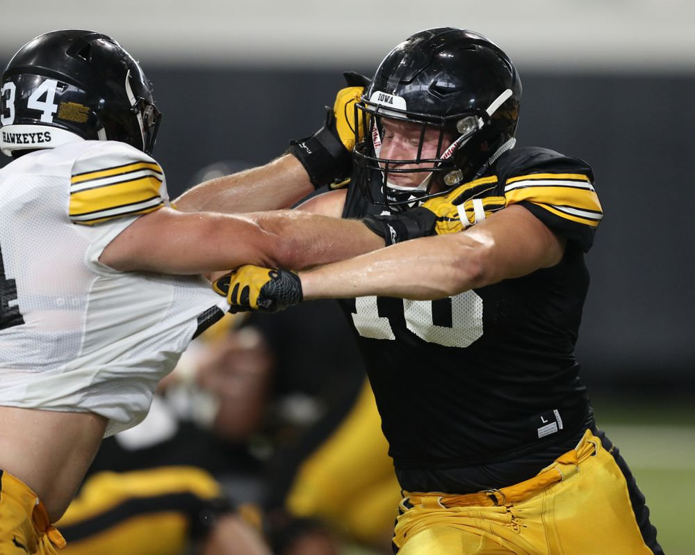 Iowa Hawkeyes tight end Drew Cook (18) during Fall Camp Practice No. 6 Thursday, August 8, 2019 at the Ronald D. and Margaret L. Kenyon Football Practice Facility. (Brian Ray/hawkeyesports.com)
