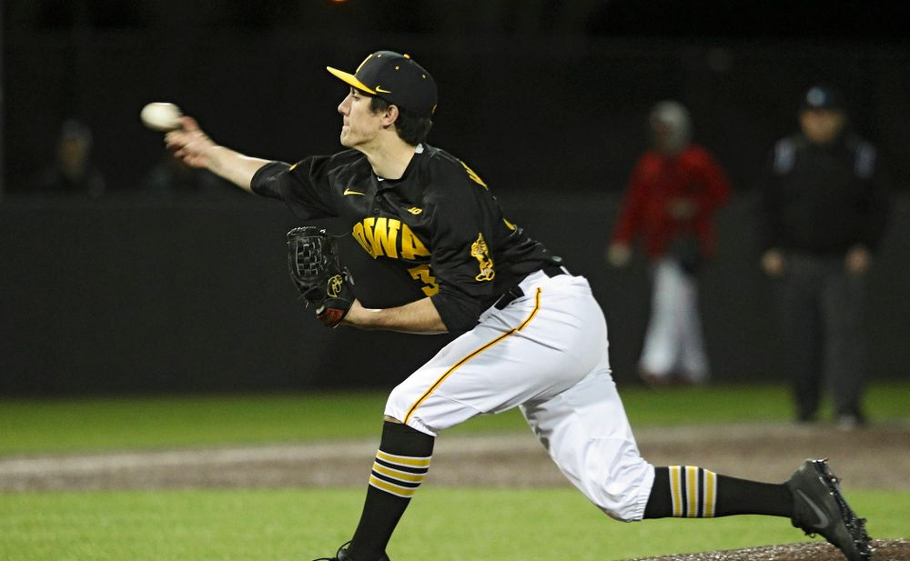 Iowa pitcher Jacob Henderson (37) delivers to the plate during the ninth inning of their game at Duane Banks Field in Iowa City on Tuesday, March 3, 2020. (Stephen Mally/hawkeyesports.com)