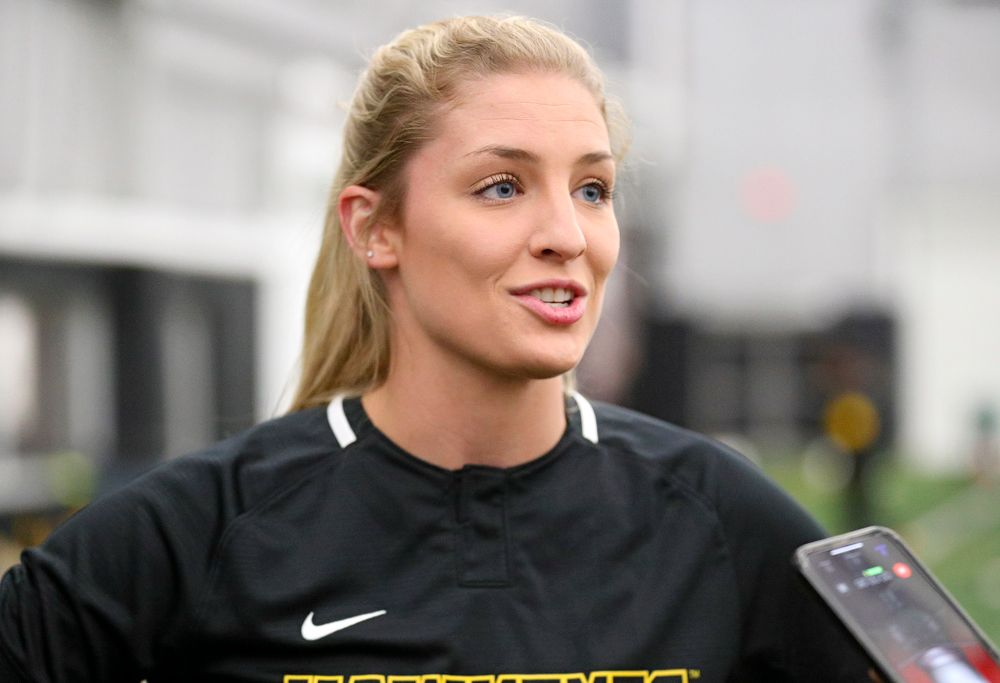 Iowa pitcher Allison Doocy (3) answers questions during Iowa Softball Media Day at the Hawkeye Tennis and Recreation Complex in Iowa City on Thursday, January 30, 2020. (Stephen Mally/hawkeyesports.com)