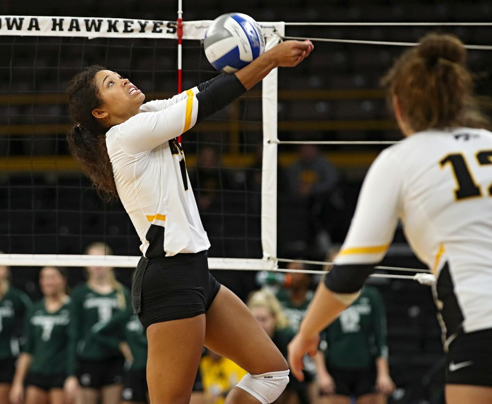 Iowa's Brie Orr (7) eyes the ball during the fifth set of their volleyball match at Carver-Hawkeye Arena in Iowa City on Sunday, Oct 13, 2019. (Stephen Mally/hawkeyesports.com)