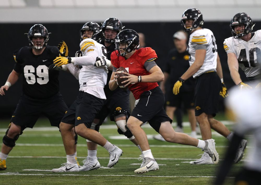 Iowa Hawkeyes quarterback Nate Stanley (4) during practice Wednesday, December 12, 2018 at the Hansen Football Performance Center in preparation for the Outback Bowl game against Mississippi State. (Brian Ray/hawkeyesports.com)