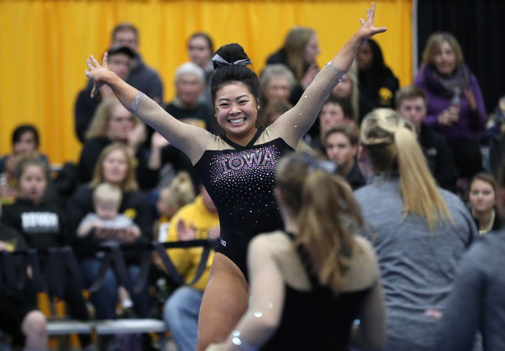 Iowa's Clari Kaji competes on the beam during the Black and Gold intrasquad meet Saturday, December 1, 2018 at the University of Iowa Field House. (Brian Ray/hawkeyesports.com)