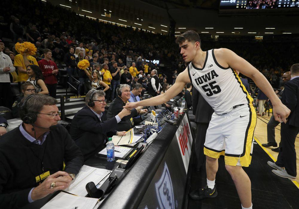 Iowa Hawkeyes forward Luka Garza (55) against the Purdue Boilermakers Tuesday, March 3, 2020 at Carver-Hawkeye Arena. (Brian Ray/hawkeyesports.com)