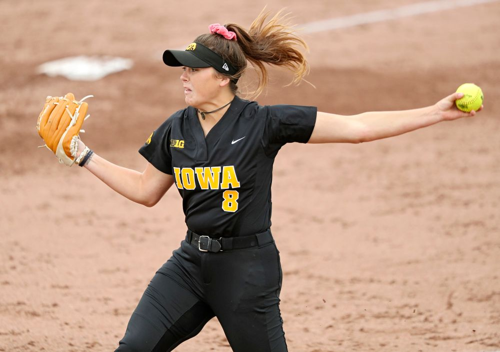 Iowa pitcher Lauren Shaw (8) delivers to the plate during the sixth inning of their game against Iowa Softball vs Indian Hills Community College at Pearl Field in Iowa City on Sunday, Oct 6, 2019. (Stephen Mally/hawkeyesports.com)