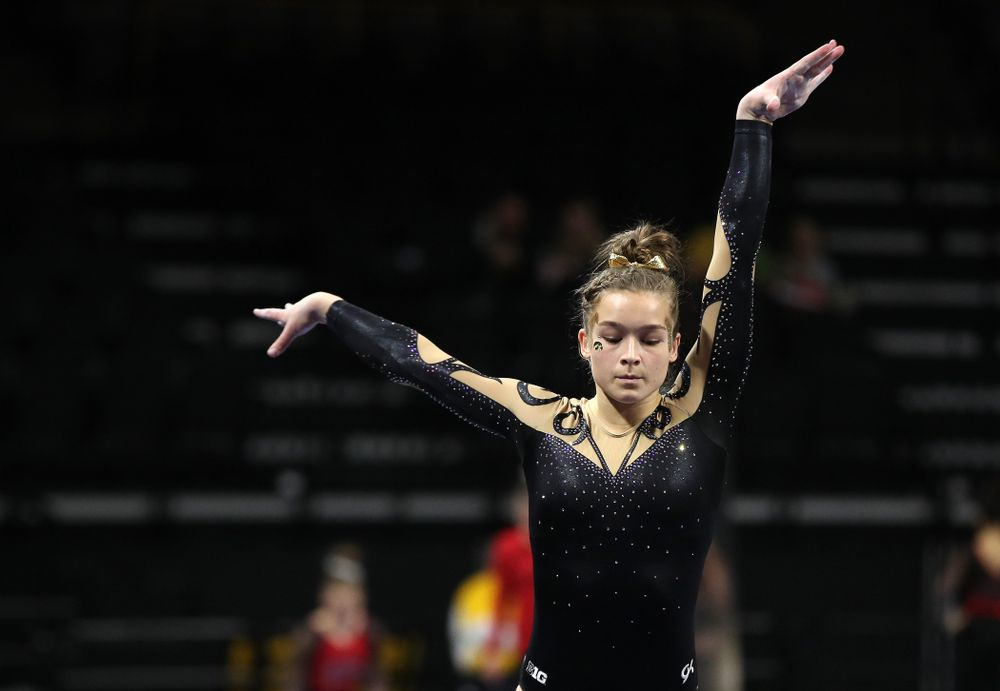 Iowa's Mackienzie Vance competes on the beam during their meet against Southeast Missouri State Friday, January 11, 2019 at Carver-Hawkeye Arena. (Brian Ray/hawkeyesports.com)