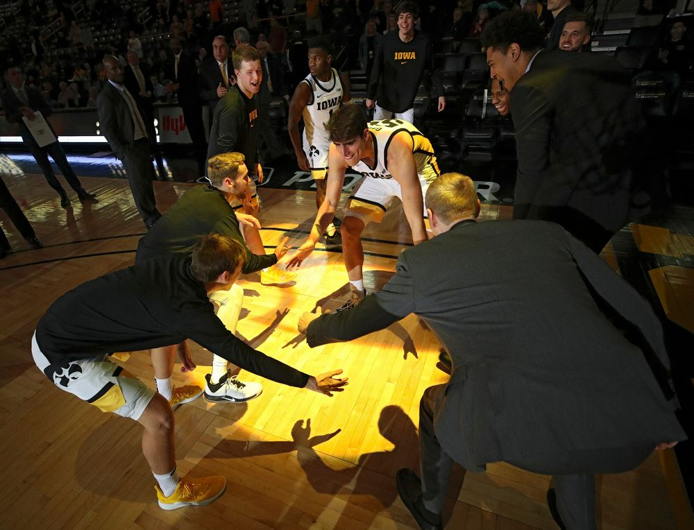 Iowa Hawkeyes center Luka Garza (55) is introduced before their exhibition game against Lindsey Wilson College at Carver-Hawkeye Arena in Iowa City on Monday, Nov 4, 2019. (Stephen Mally/hawkeyesports.com)
