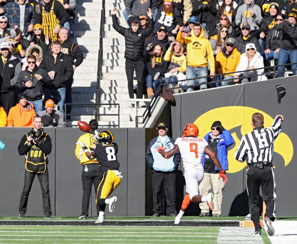 Iowa Hawkeyes defensive back Matt Hankins (8) intercepts a pass during the third quarter of their game at Kinnick Stadium in Iowa City on Saturday, Nov 23, 2019. (Stephen Mally/hawkeyesports.com)