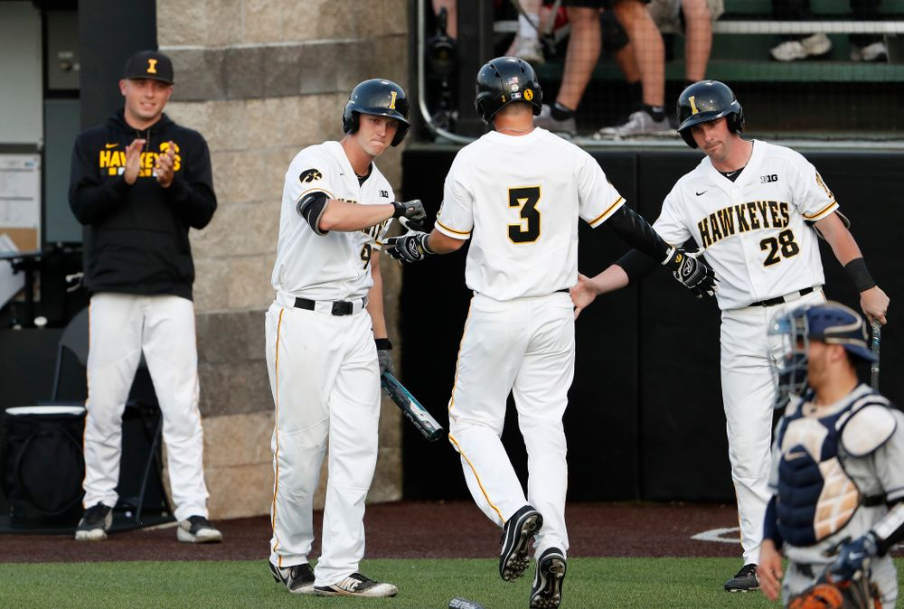 Iowa Hawkeyes outfielder Robert Neustrom (44), infielder Matt Hoeg (3), and infielder Chris Whelan (28) against the Penn State Nittany Lions  Thursday, May 17, 2018 at Duane Banks Field. (Brian Ray/hawkeyesports.com)