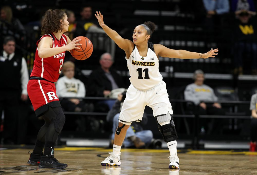 Iowa Hawkeyes guard Tania Davis (11) against the Rutgers Scarlet Knights Wednesday, January 23, 2019 at Carver-Hawkeye Arena. (Brian Ray/hawkeyesports.com)