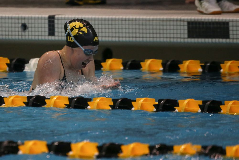 Iowa's Paige Hanley swims the 200-yard breaststroke during the Iowa swimming and diving meet vs Notre Dame and Illinois on Saturday, January 11, 2020 at the Campus Recreation and Wellness Center. (Lily Smith/hawkeyesports.com)