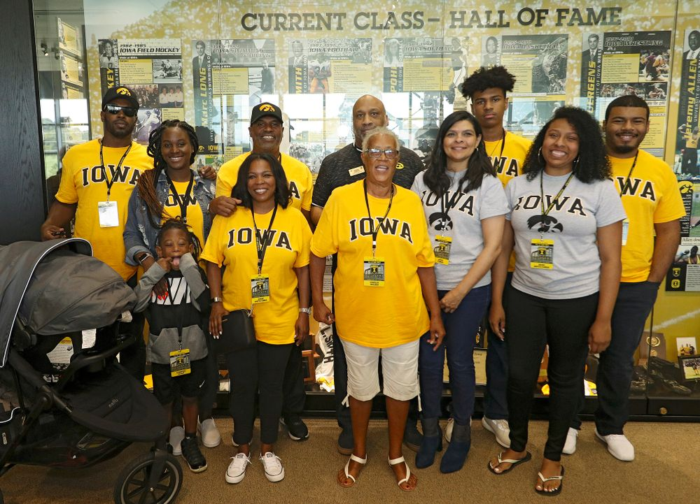 2019 University of Iowa Athletics Hall of Fame inductee Leroy Smith with his family at the University of Iowa Athletics Hall of Fame in Iowa City on Friday, Aug 30, 2019. (Stephen Mally/hawkeyesports.com)