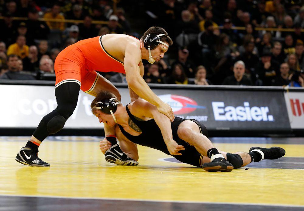 Iowa's Cash Wilcke Wrestles Oklahoma State's Preston Weigel at 197 pounds