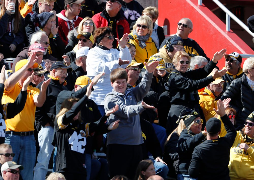 Fans cheer on the Iowa Hawkeyes against the Indiana Hoosiers Saturday, October 13, 2018 at Memorial Stadium, in Bloomington, Ind. (Brian Ray/hawkeyesports.com)