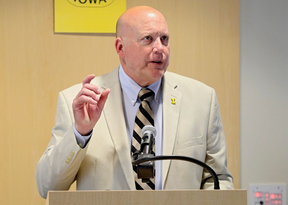 Mayor John Lundell, City of Coralville, speaks during the press conference to discuss FryFEST and announce the 2019 Iowa Athletics Hall of Fame members in the Varsity Club Room at the University of Iowa Athletics Hall of Fame in Iowa City on Tuesday, Jun 11, 2019. (Stephen Mally/hawkeyesports.com)