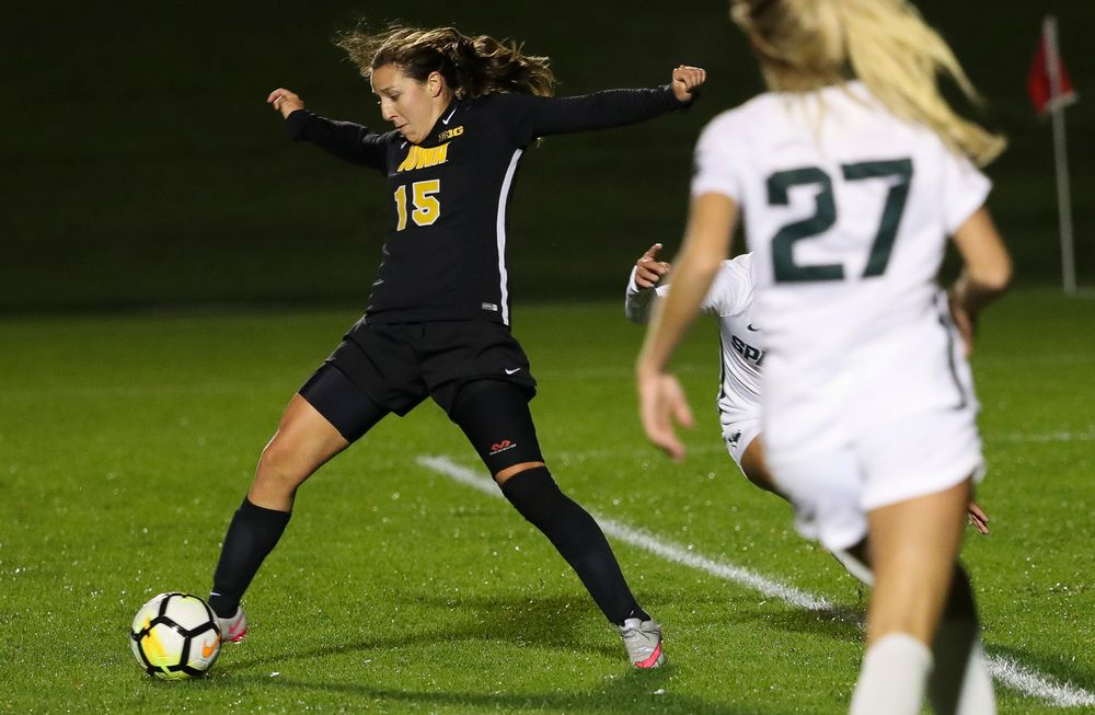 Iowa Hawkeyes forward Rose Ripslinger (15) corrals a pass during a game against Michigan State at the Iowa Soccer Complex on October 12, 2018. (Tork Mason/hawkeyesports.com)