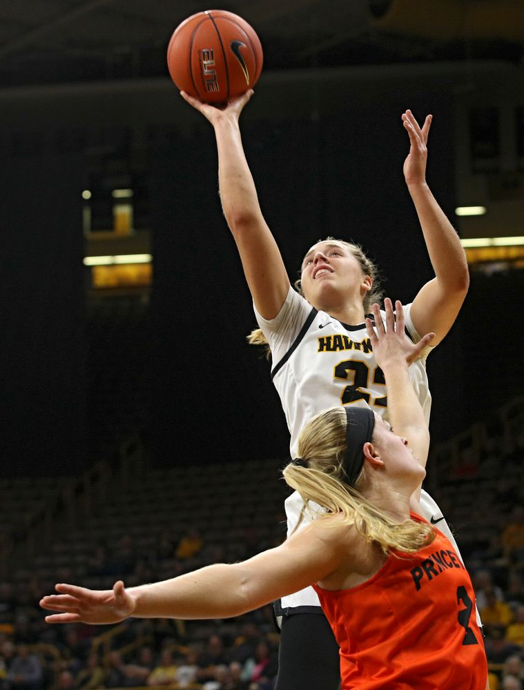 Iowa guard Kathleen Doyle (22) scores a basket during the first quarter of their overtime win against Princeton at Carver-Hawkeye Arena in Iowa City on Wednesday, Nov 20, 2019. (Stephen Mally/hawkeyesports.com)