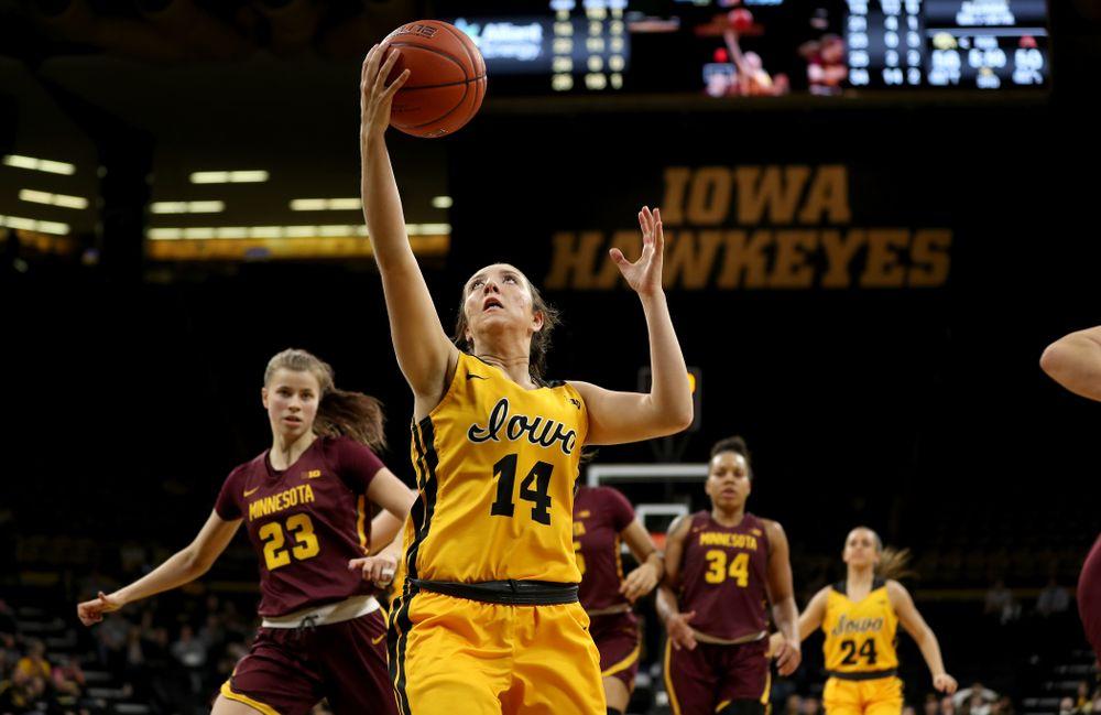 Iowa Hawkeyes forward McKenna Warnock (14) against the Minnesota Golden Gophers Thursday, February 27, 2020 at Carver-Hawkeye Arena. (Brian Ray/hawkeyesports.com)