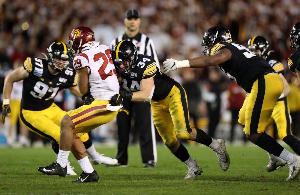 Iowa Hawkeyes linebacker Kristian Welch (34) against USC in the Holiday Bowl Friday, December 27, 2019 at San Diego Community Credit Union Stadium.  (Brian Ray/hawkeyesports.com)