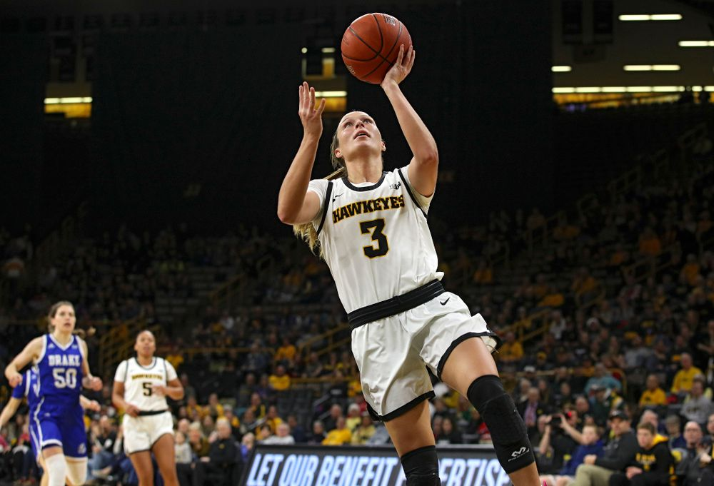 Iowa Hawkeyes guard Makenzie Meyer (3) scores a basket during the second quarter of their game at Carver-Hawkeye Arena in Iowa City on Saturday, December 21, 2019. (Stephen Mally/hawkeyesports.com)