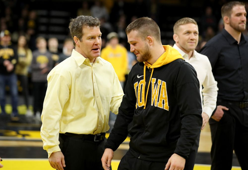 Iowa's Jeren Glosser during senior day activities Sunday, February 23, 2020 at Carver-Hawkeye Arena. (Brian Ray/hawkeyesports.com)
