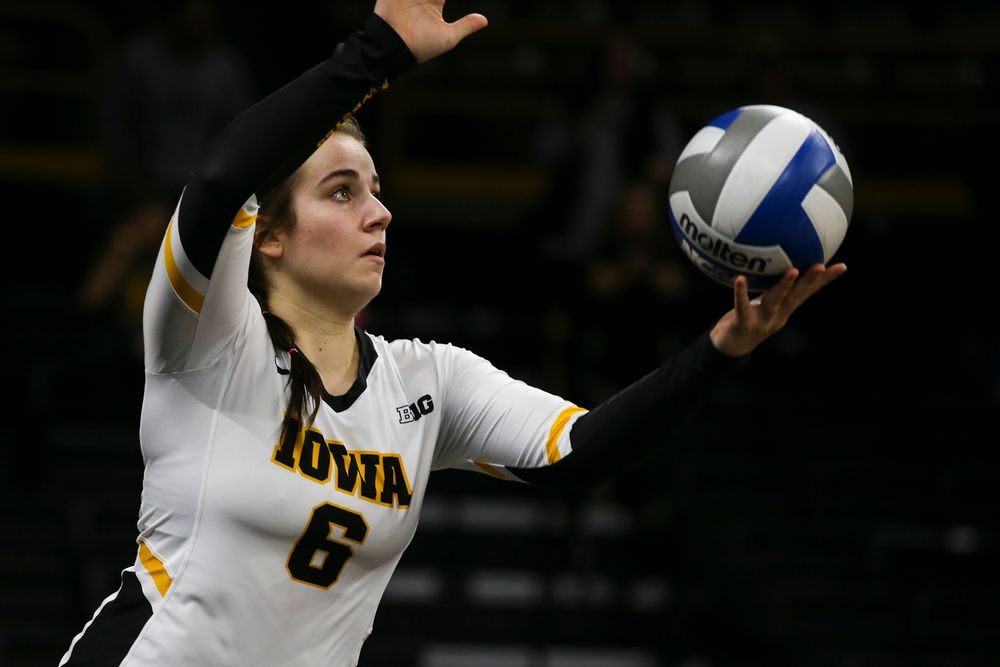 Iowa Hawkeyes defensive specialist Emma Lowes (6) during Iowa volleyball vs Maryland on Saturday, November 30, 2019 at Carver-Hawkeye Arena. (Lily Smith/hawkeyesports.com)