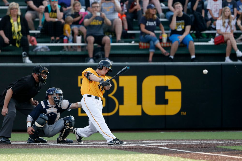 Iowa Hawkeyes outfielder Robert Neustrom (44) singles against the Penn State Nittany Lions Saturday, May 19, 2018 at Duane Banks Field. (Brian Ray/hawkeyesports.com)