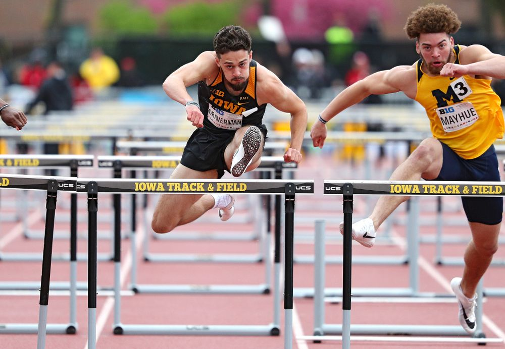 Iowa's Josh Braverman runs the men's 110 meter hurdles event on the second day of the Big Ten Outdoor Track and Field Championships at Francis X. Cretzmeyer Track in Iowa City on Saturday, May. 11, 2019. (Stephen Mally/hawkeyesports.com)