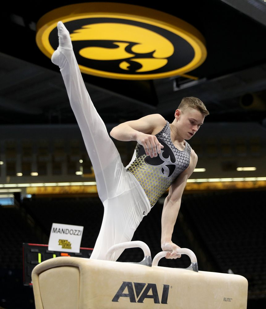 Iowa's Carter Tope competes on the Pommel Horse against UIC and Minnesota Saturday, February 1, 2020 at Carver-Hawkeye Arena. (Brian Ray/hawkeyesports.com)