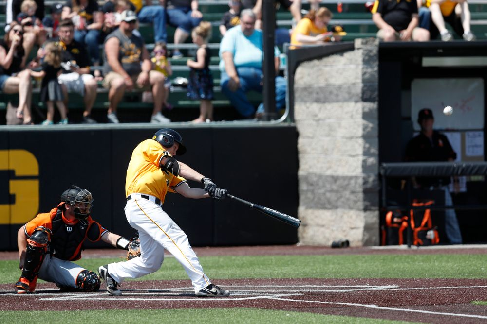 Iowa Hawkeyes outfielder Robert Neustrom (44) against the Oklahoma State Cowboys Sunday, May 6, 2018 at Duane Banks Field. (Brian Ray/hawkeyesports.com)