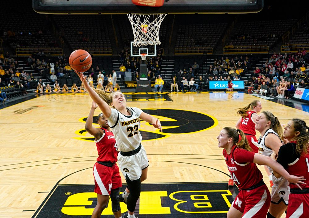 Iowa Hawkeyes guard Kathleen Doyle (22) puts up a shot during the fourth quarter of the game at Carver-Hawkeye Arena in Iowa City on Thursday, February 6, 2020. (Stephen Mally/hawkeyesports.com)