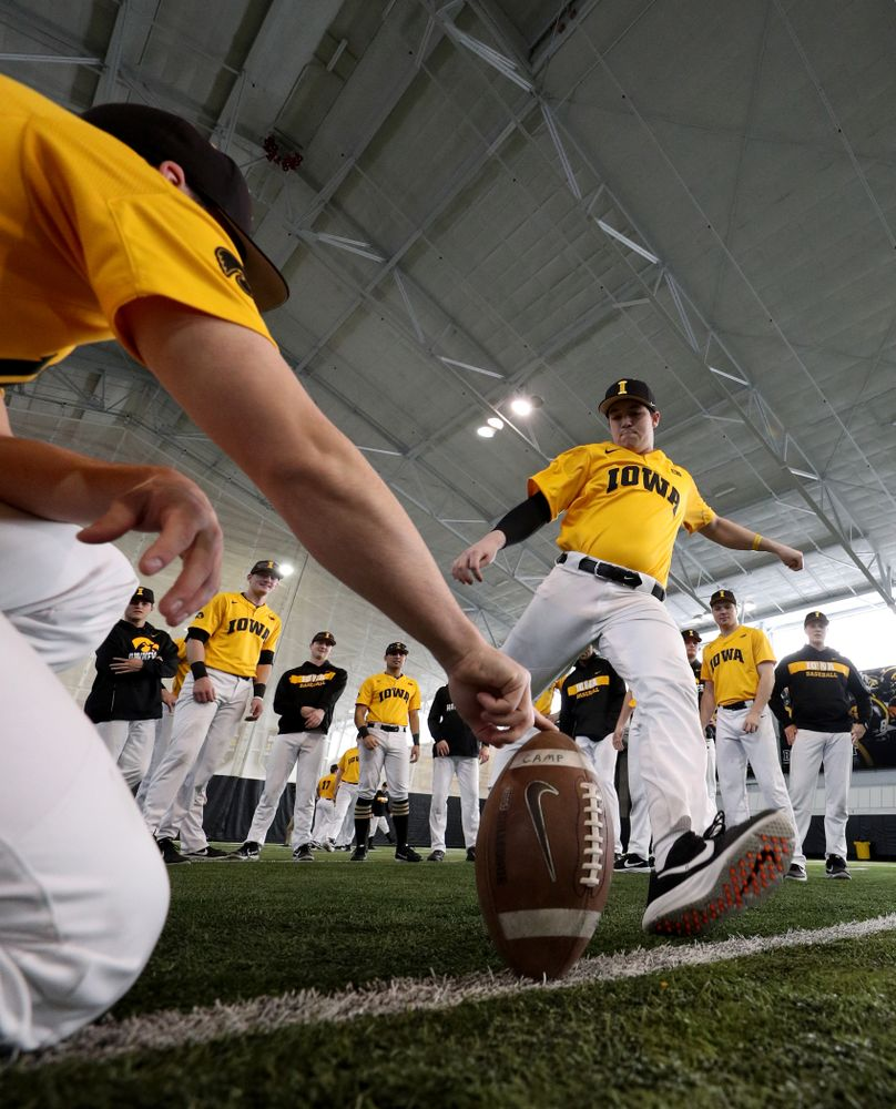 Iowa Hawkeyes Jackson Vines (11) attempts to kick a field goal before practice Thursday, February 6, 2020 at the Indoor Practice Facility. (Brian Ray/hawkeyesports.com)