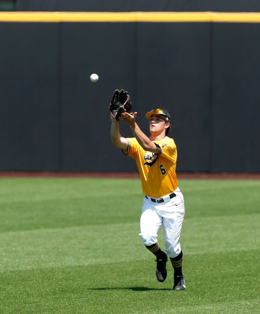 Iowa Hawkeyes outfielder Justin Jenkins (6) against the Oklahoma State Cowboys Sunday, May 6, 2018 at Duane Banks Field. (Brian Ray/hawkeyesports.com)