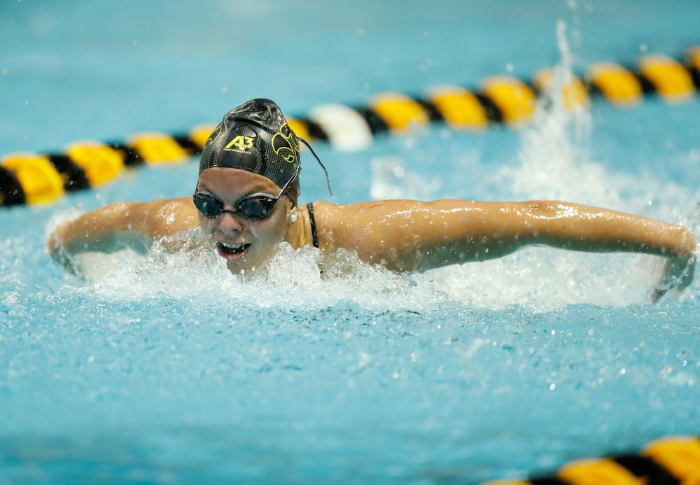 Iowa's Morgan Grout swims the 200 yard butterfly