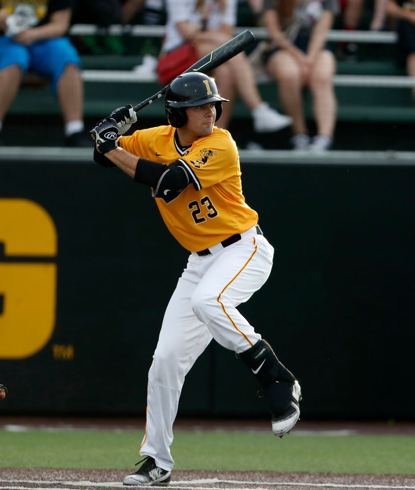 Iowa Hawkeyes infielder Kyle Crowl (23) against the Penn State Nittany Lions Saturday, May 19, 2018 at Duane Banks Field. (Brian Ray/hawkeyesports.com)