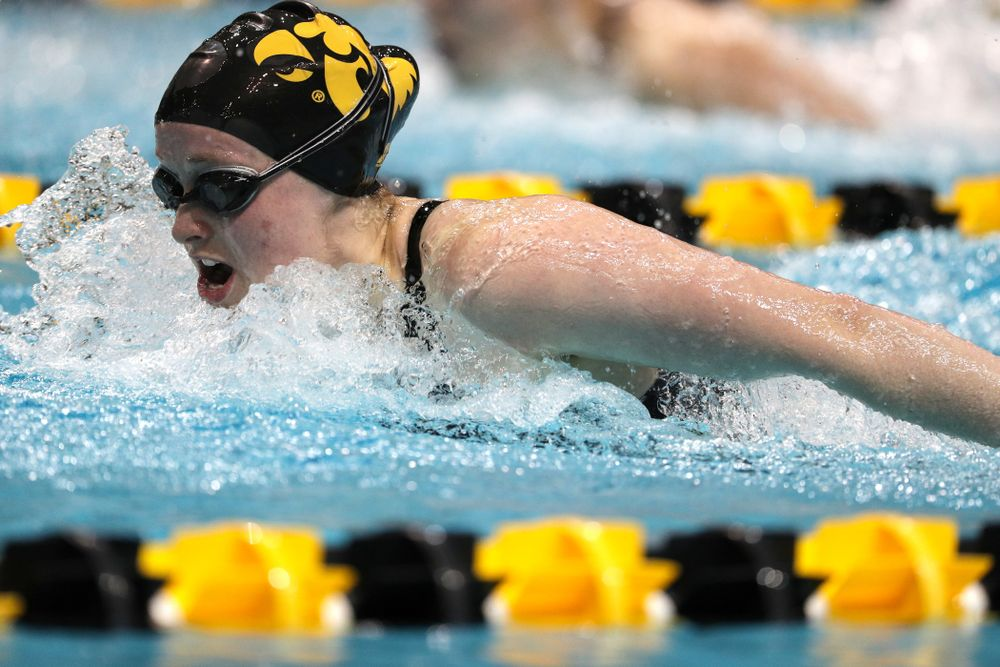 Iowa's Kelsey Drake swims the 200-yard butterfly against the Iowa State Cyclones in the Iowa Corn Cy-Hawk Series Friday, December 7, 2018 at at the Campus Recreation and Wellness Center. (Brian Ray/hawkeyesports.com)