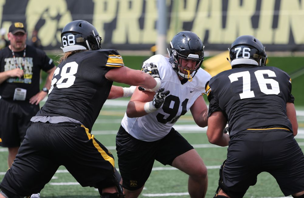 Iowa Hawkeyes defensive lineman Brady Reiff (91) during the third practice of fall camp Sunday, August 5, 2018 at the Kenyon Football Practice Facility. (Brian Ray/hawkeyesports.com)