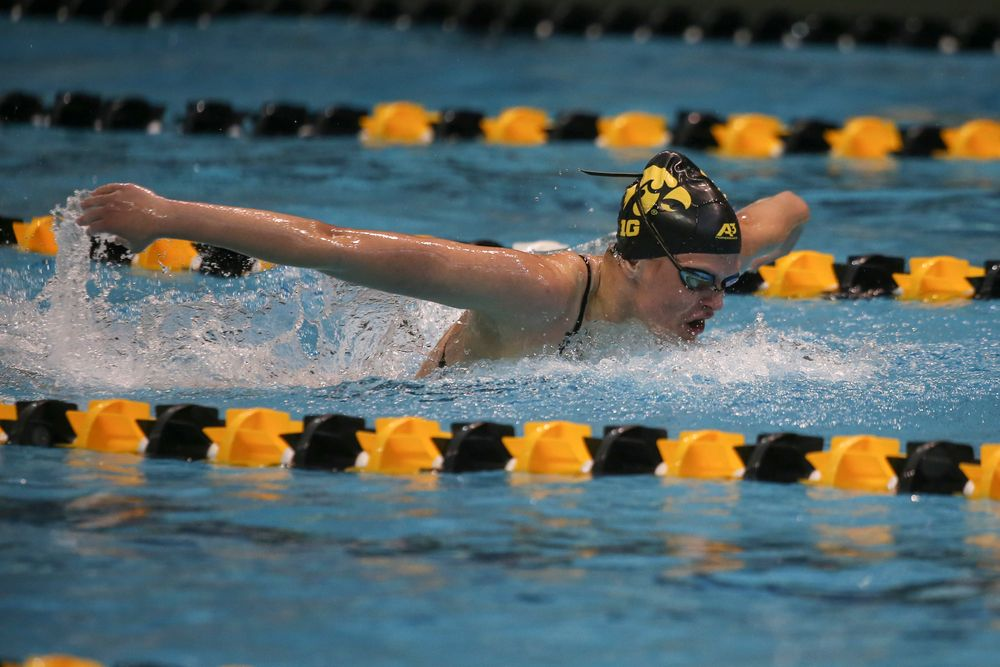 Iowa's Sarah Schmmel swims the 100-yard fly during the Iowa swimming and diving meet vs Notre Dame and Illinois on Saturday, January 11, 2020 at the Campus Recreation and Wellness Center. (Lily Smith/hawkeyesports.com)