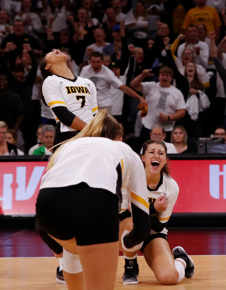 Iowa Hawkeyes setter Gabrielle Orr (7) and middle blocker Sarah Wing (13) against the Michigan State Spartans Friday, September 21, 2018 at Carver-Hawkeye Arena. (Brian Ray/hawkeyesports.com)
