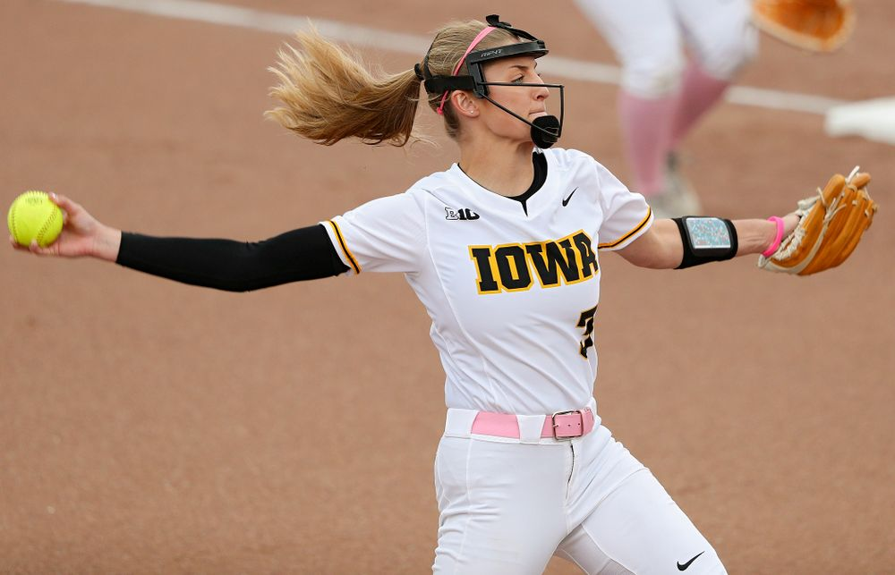 Iowa pitcher Allison Doocy (3) delivers to the plate during the first inning of their game against Iowa State at Pearl Field in Iowa City on Tuesday, Apr. 9, 2019. (Stephen Mally/hawkeyesports.com)