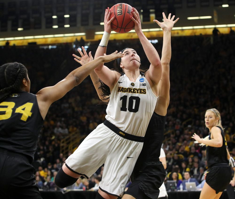 Iowa Hawkeyes center Megan Gustafson (10) puts up a shot during the first quarter of their second round game in the 2019 NCAA Women's Basketball Tournament at Carver Hawkeye Arena in Iowa City on Sunday, Mar. 24, 2019. (Stephen Mally for hawkeyesports.com)
