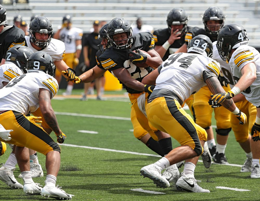 Iowa Hawkeyes running back Ivory Kelly-Martin (21) on a run during Fall Camp Practice No. 8 at Kids Day at Kinnick Stadium in Iowa City on Saturday, Aug 10, 2019. (Stephen Mally/hawkeyesports.com)