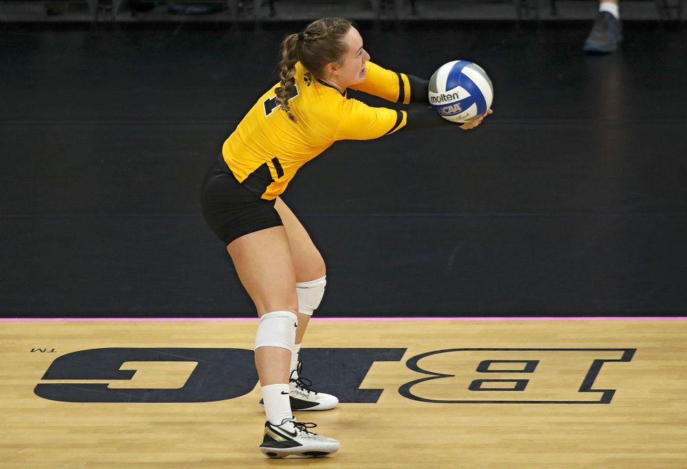 Iowa's Joslyn Boyer (1) eyes the ball during their match at Carver-Hawkeye Arena in Iowa City on Sunday, Oct 20, 2019. (Stephen Mally/hawkeyesports.com)